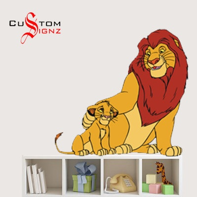 lion king simba mufasa disney cartoon wall sticker art vinyl mural personalise full colour 580mm. Black Bedroom Furniture Sets. Home Design Ideas