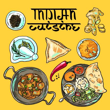 Hand drawn Indian food elements vector 01