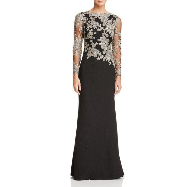 Tadashi Shoji Petites Embroidered Lace Textured Crepe Gown ($535) ❤ liked on Polyvore featuring dresses, gowns, white evening dresses, white dress, white lace evening gown, white lace dress and petite dresses
