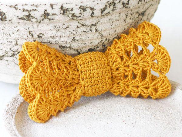 mustard crochet bow