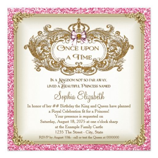 46 best 14th birthday party invitations images on pinterest once upon a time princess birthday party card filmwisefo Choice Image