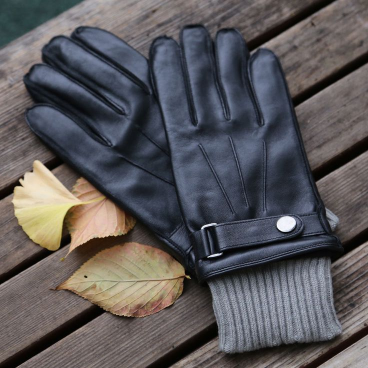 Leather Gloves Men's Genuine Leather Belt Touch Screen NWT winter business Black #SAFS #WinterGloves