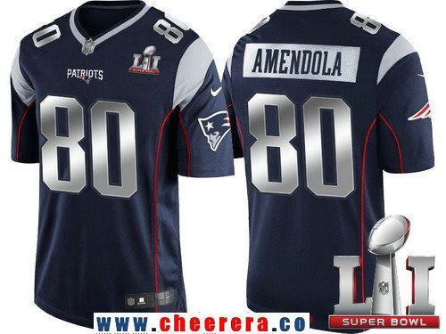 Men's New England Patriots #80 Danny Amendola Navy Blue With Silver 2017 Super Bowl LI Patch Stitched NFL Limited Jersey