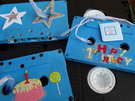 Birthday themed Music Cassette Tape Ornament's  by DorenesXXOO