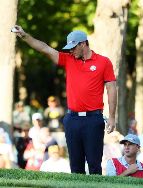 Brooks Koepka of the United States takes a drop on the 13th hole during afternoon fourball matches of the 2016 Ryder Cup at Hazeltine National Golf Club on September 30, 2016 in Chaska, Minnesota. - 407 of 595