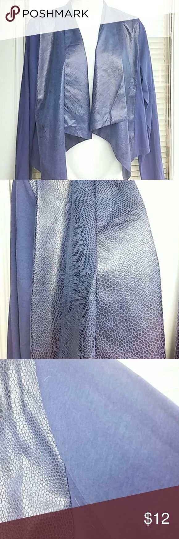 Giuliana Rancic luxe cardigan New /tags Giuliana rancic luxe draped cardigan. Long sleeved.  Color is blue.  Draped front of jacket has faux snakeskin look.  Sleeves and back are cotton look.  Material is poly cotton modal.  Brand new.  Nice..length is 20 inches long. Giuliana Jackets & Coats