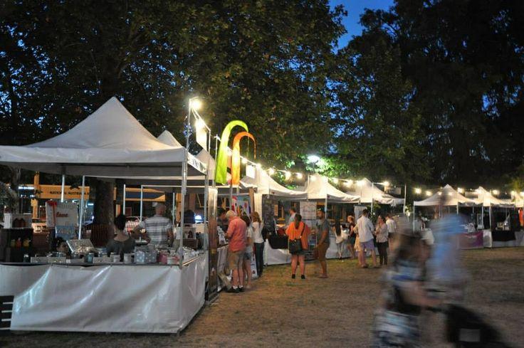 Fete stalls at night