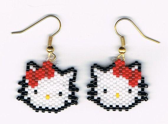 Hand Beaded Hello Kitty Head earrings by beadfairy1 on Etsy,  #beadwork