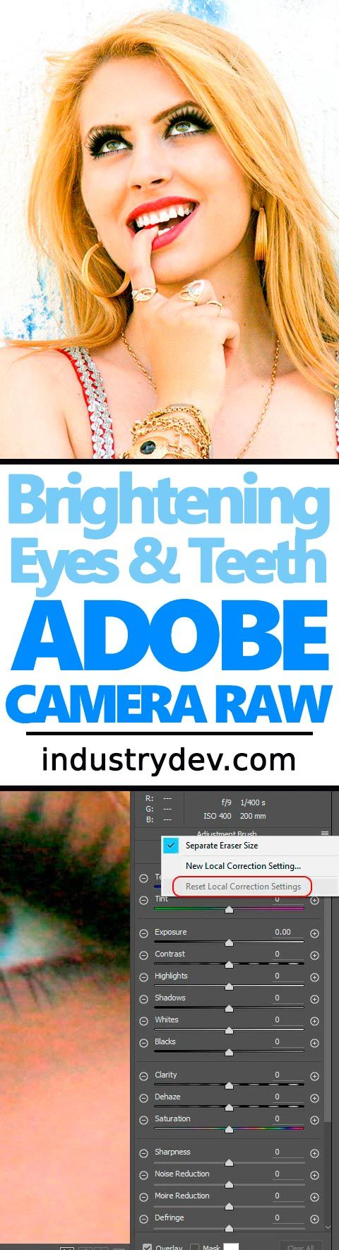How to Whiten Eyes & Teeth in Adobe Camera Raw: Brightening eyes and teeth are the first place an editor goes when they open a photo. Traditionally, this type of work has been done in Photoshop, but with the ease of use the Adjustment Brush in Camera Raw offers, more and more people are completing these types of tasks there. Brightening these two areas can offer a drastic improvement in almost any photo. And believe it or not, it only takes a few moments and not many more steps.