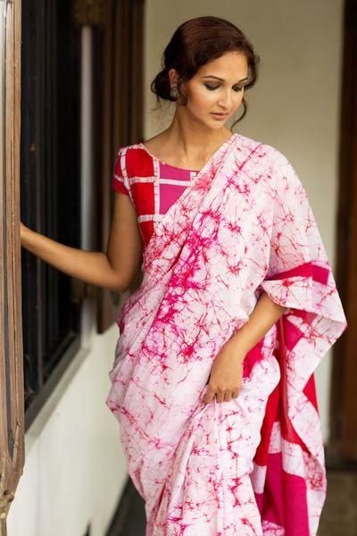 Pink & white color block Batik Saree  100% Cotton