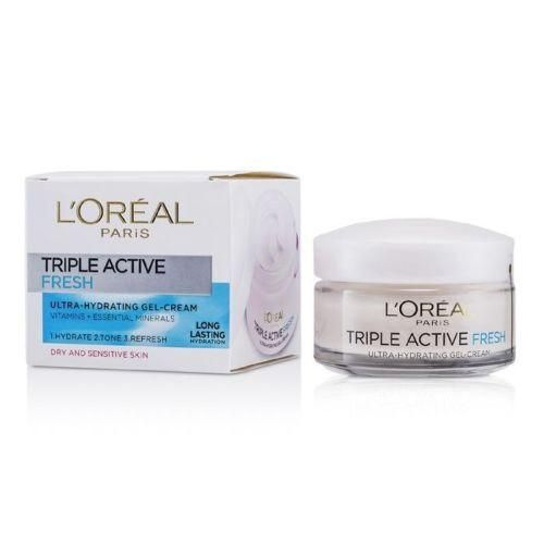L'Oréal Paris Triple Active Fresh Ultra Hydrating Gel-cream For Dry And Sensitive Skin 50ml #skincare #skin