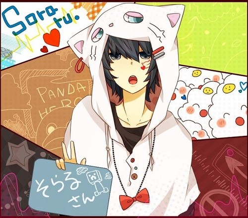 here we have a random anime mguy. he has a cute nekomimi coat. The background is really pretty.