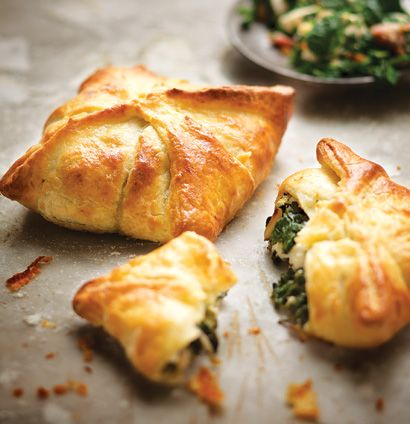 Spinach-and-bacon pies with cream-cheese pastry. need pine nuts, feta. philadelphia and chopped bacon.