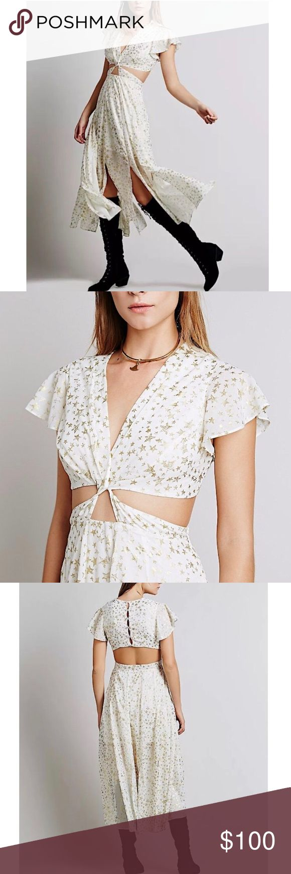 FREE PEOPLE PARTY DRESS SIZE XS-S Brand new without tags. Beautiful beige maxi dress featuring lightweight fabric and fluttering sleeves. Distressed printed gold star design throughout with shimmering tone. Plunging neckline and open cutout detailing at midsection. Dainty skirt includes paneled slits and hidden side zipper. Button down closure at upper back. Self lined upper and skirt size 2 or s-xs. Price is relatively firm. Decent offers only please! Free People Dresses Maxi
