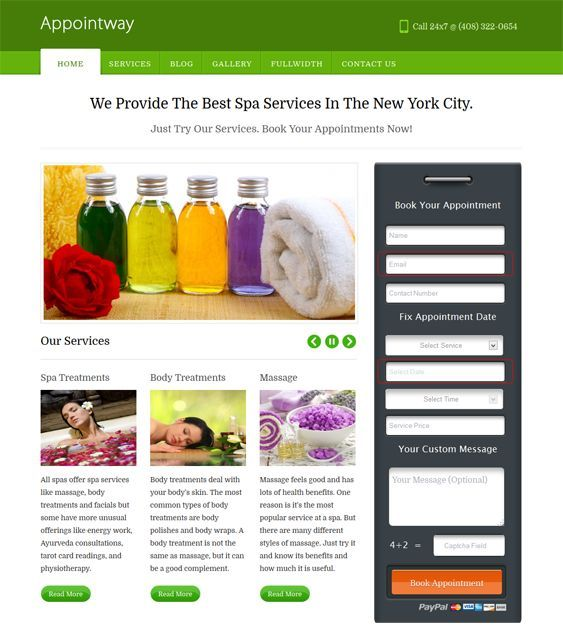 This spa WordPress theme features an appointment booking system with payment integration, a testimonial section, a responsive layout, a homepage featured image slider, a widgetized footer, Google Maps integration, and more.