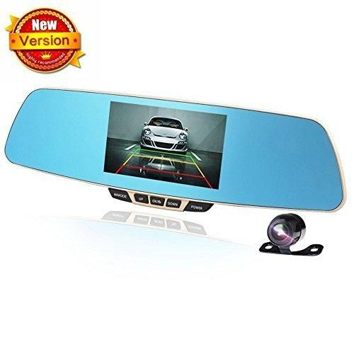 Car Rear View Camera Dual-lens Vehicle AUTO Cameras Mirror Dash Cam Front and Rear DVR Full HD 1080P 170Wide Angle Large Rear View Mirror with 5.0 Inch Display Screen