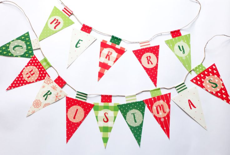 Christmas Bunting Banner Flag, Merry Christmas Flag, Christmas DIY Party, Party Kit, Party Decor, Party Supplies, Instant Download! by RabbitaboveRainbow on Etsy