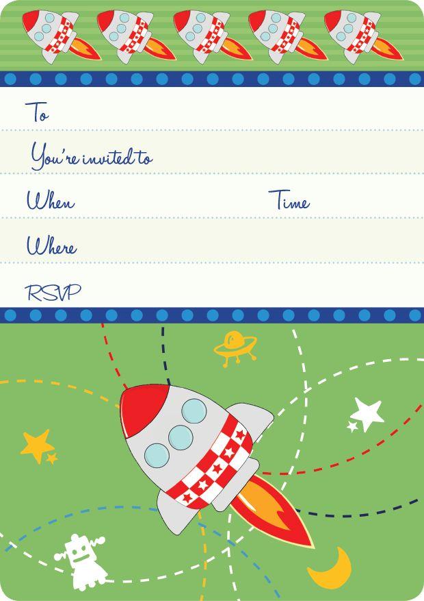 Spaceship & Rocket Kids Party | Rockets Invite Set- 15 invites + coordinating envelopes + magnets $17.50 Shop for it http://www.partymama.com.au/boys-invitations-rockets-invite-set-p-11.html