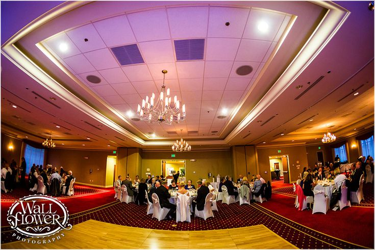 Ultra wide angle fisheye photo of a wedding reception at the Courtyard Marriott hotel in Tacoma, by Tacoma wedding photographer Wallflower Photography