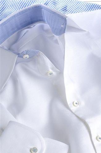 White Shirt, collar inserts on Celestial Lines, Men's Shirt, Shirt Tailor - $136