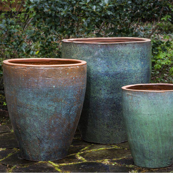 Tharabar 3 Piece Glazed Terracotta Pot Planter Set Large Outdoor Planters Large Garden Pots Planter Pots