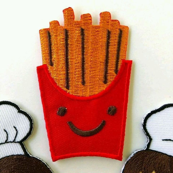 Smile French Fries Red Yellow Iron on Patch Embroidered DIY Applique New Cloth
