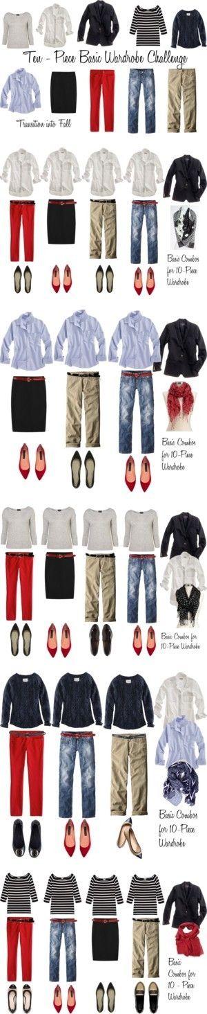 "10-Item Wardrobe:  ""I have burgundy/red pants, black skirt and white long sleeve collar shirt, need khakis and shirts"""