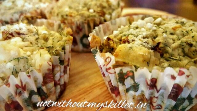 Dill, Sun-dried Tomatoes and Feta Savoury Muffin