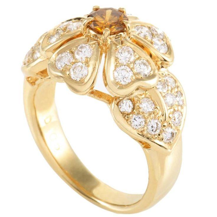 White and Orange Diamond Pave Yellow Gold Flower Ring 1