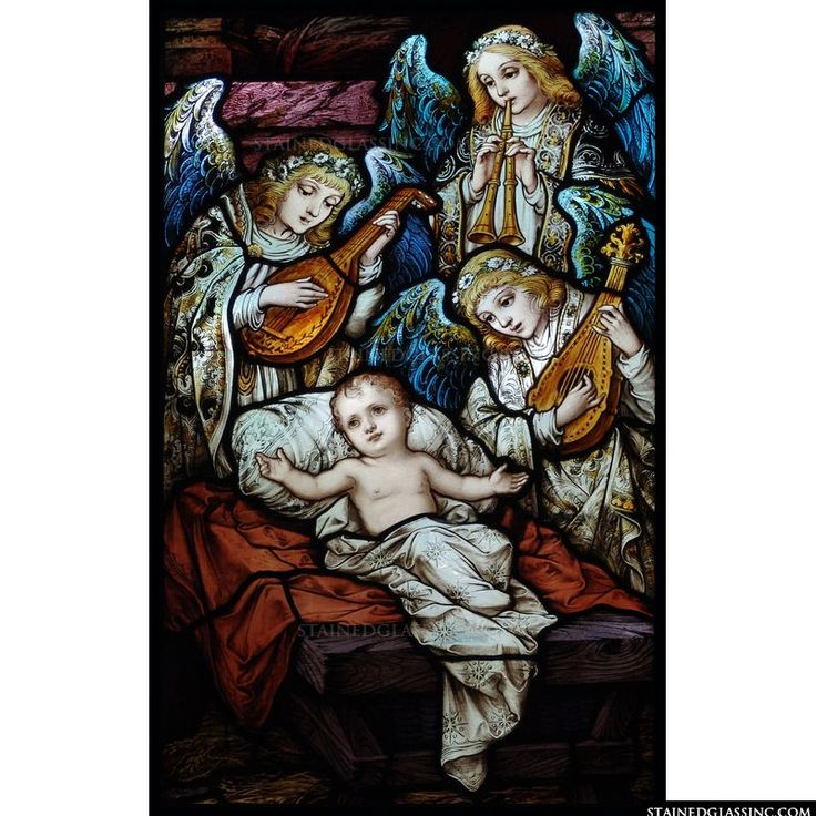 Adoring angels and Baby Jesus