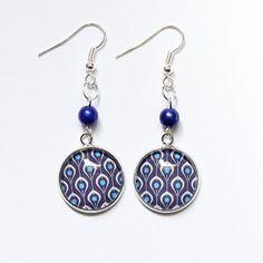 Boucles d'oreilles plumes de paon graphique - bleu - boucles d'oreilles cabochon verre paon
