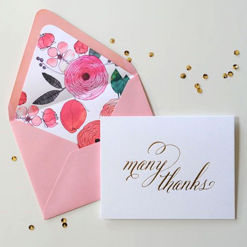 MANY THANKS NOTE CARD  A simple message printed in shiny gold foil. The envelope is lined in a hand-drawn flower motif. Pretty, pretty, pretty!