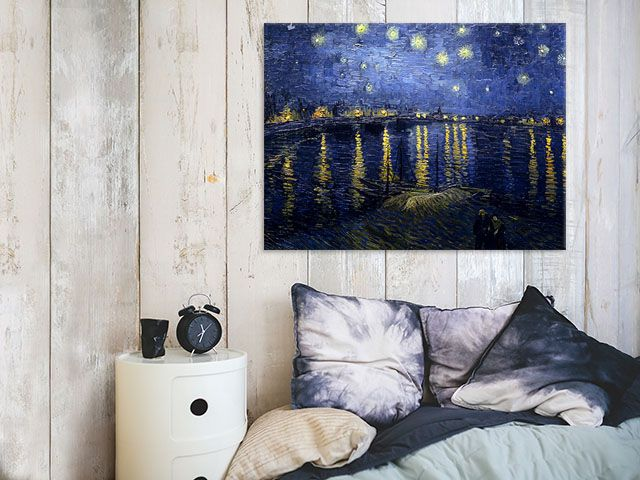 """Iconic artwork by Vincent n\van Gogh - ''Starry Night over Rhone"""" - available as print on canvas, paper, magnet and more!"""