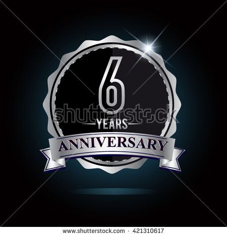 6th anniversary logo with ribbon. 6 years anniversary signs illustration. Silver anniversary logo with ribbon. - stock vector