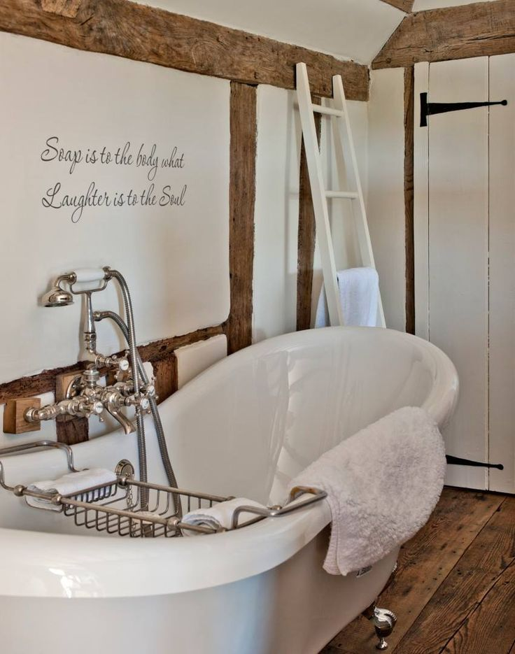 Cottage Bathroom with Oak Beams and Stencilled Wording - The Room Edit