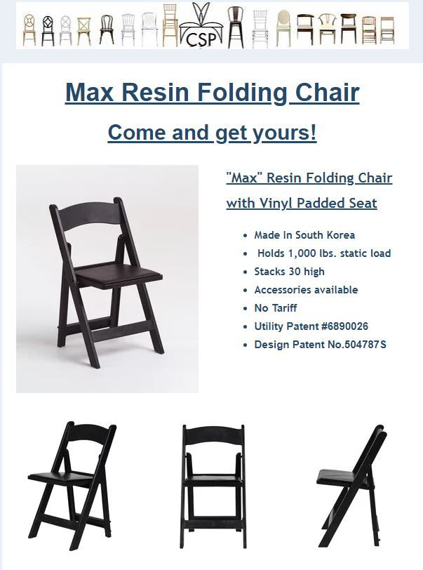 Max Resin Folding Chair With Vinyl Padded Seat Folding Chair