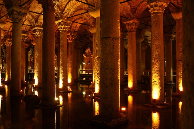 Istanbul: Yerebatan Sarnici by gnahcgem, via Flickr.  The Basilica Cistern (Yerebatan Sarnici) is near the Aya Sofya, (Hagia Sofia), Blue Mosque and Topkapi Palace. The water of Constantinopolis was provided from this place thousands of years ago. There are two columns of Medussa's head
