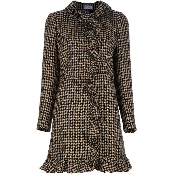 RED VALENTINO Houndstooth coat ($1,090) found on Polyvore: Ruffled Houndstooth, Fashion, Houndstooth Coat Outfit, Red Valentino, Clothing Style, 2012 Style, Outfit Inspiration, Ruffle Coat