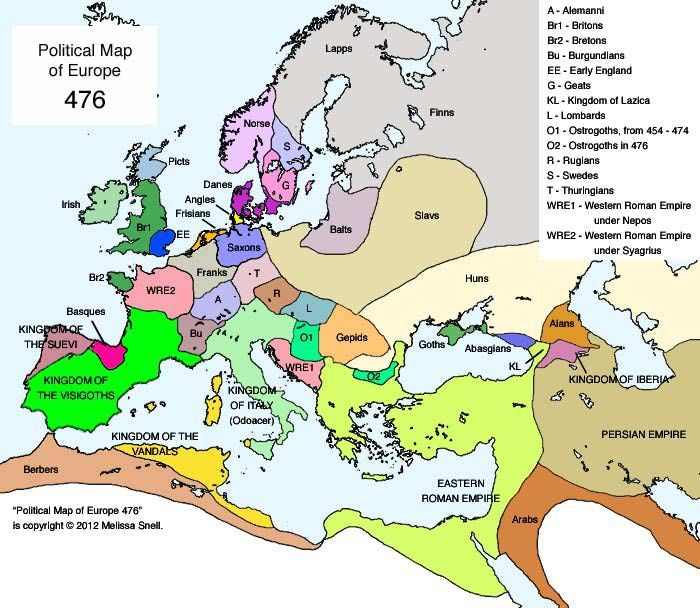 Map of Europe, 476 CE - Ostrogoths, Visigoths, Alemanni, Gepids, Vandals, Eastern Roman Empire, Thuringians, etc