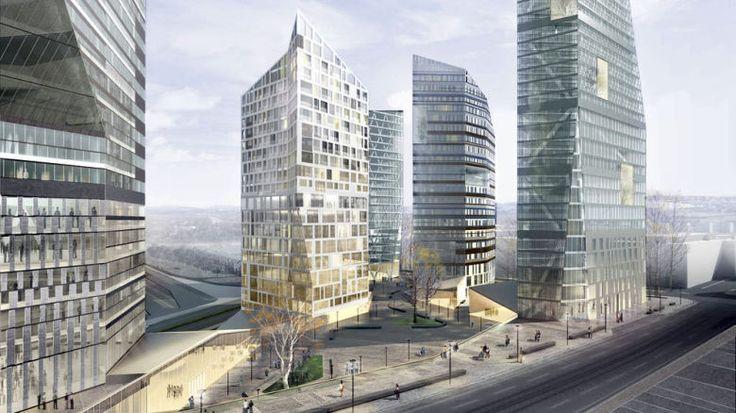 Helsingin Keski-Pasilan tulevat tornitalot.