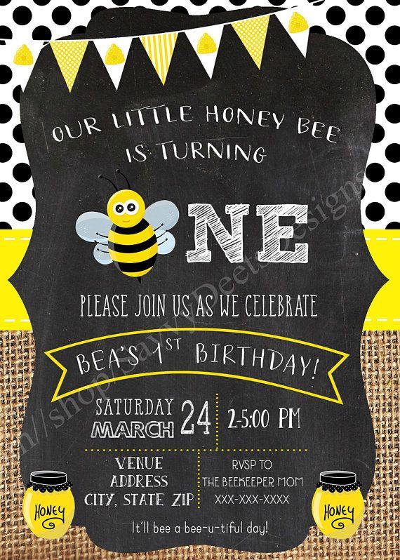 honey bee themed birthday invitations