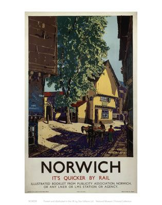 Norwich Horse and Cart - vintage railway print Brian Cook?