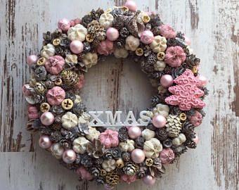 Christmas wreath baby pink rustic xmas 2017 door hanger pastel vintage shabby chic