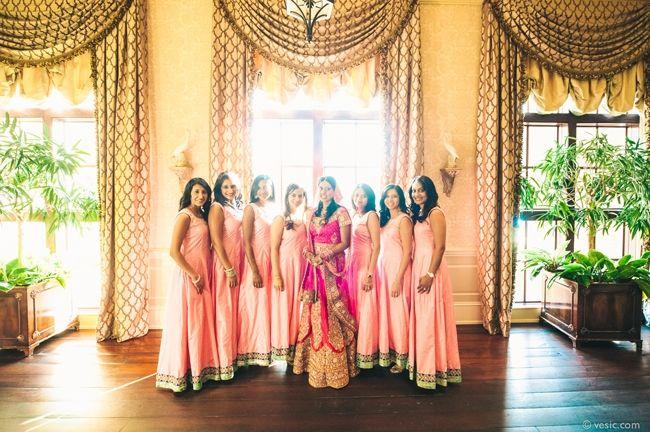 19a indian wedding bridesmaids peach lengha