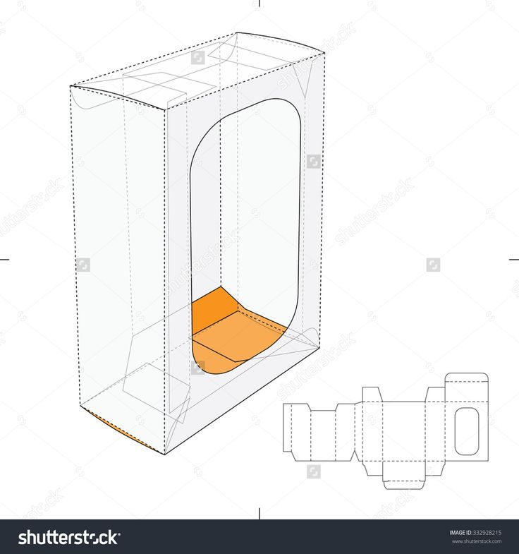 Box With Display Window And Die Cut Layout Stock Vector Illustration 332928215 : Shutterstock