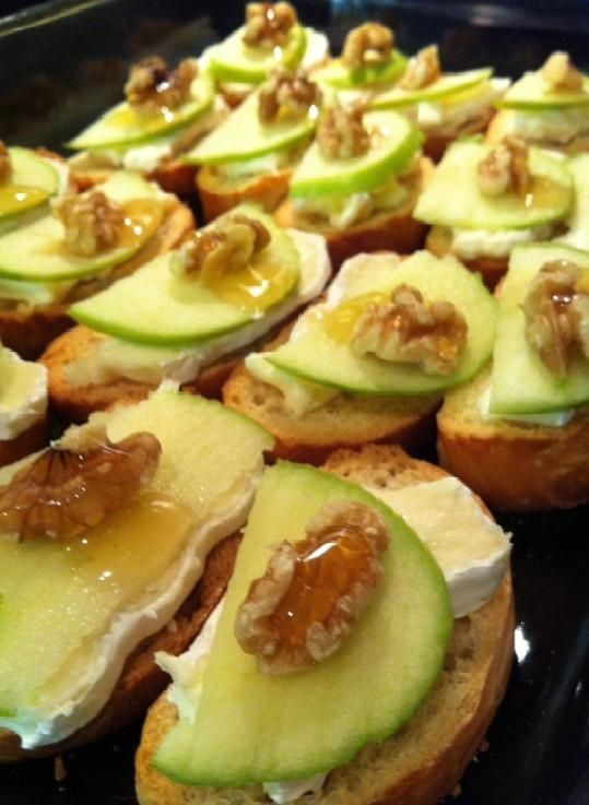 Softened Brie, Granny Smith Apple, Walnut, and a Drizzle of Honey on Lightly Toasted Baguette.