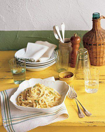 Fettuccine with Lemon, Mint, and Parmesan   Lemon zest and mint leaves ...