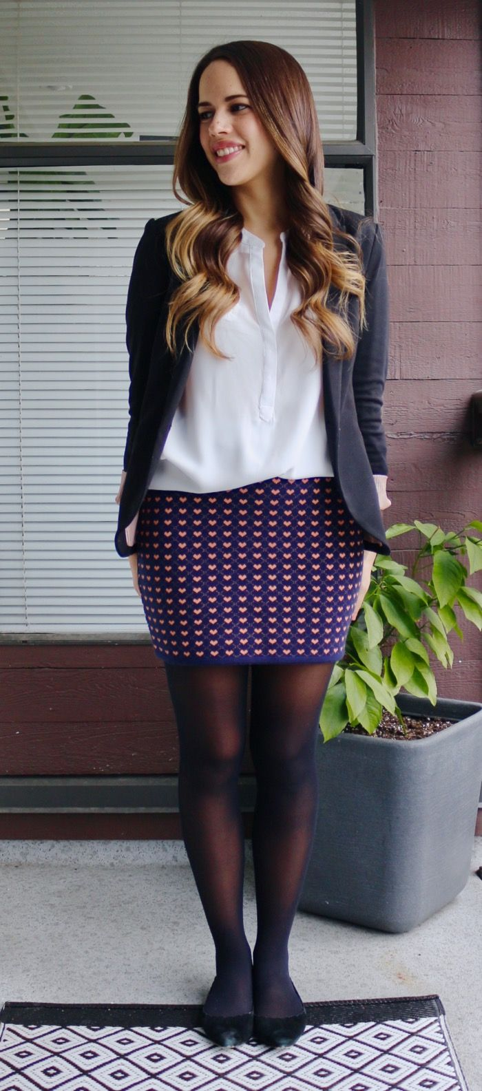 Jules in Flats - Valentine's Day Outfit (Heart-print knit skirt)