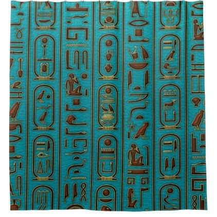 Egyptian Golden Leather hieroglyphs on teal Shower Curtain - diy individual customized design unique ideas