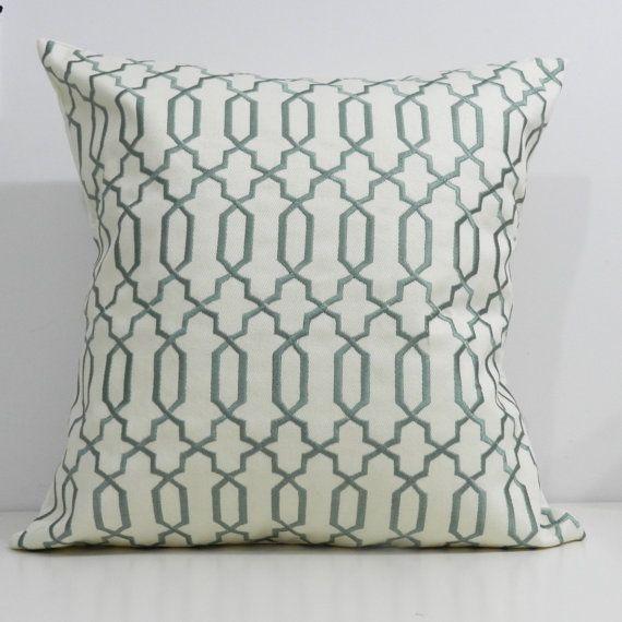 18x18 inch Designer Handmade Pillow Cases in spa and cream lattice $43